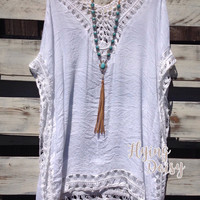 White Crochet Tunic Cover Up
