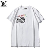 LV Louis Vuitton Fashion New Bust And Back Letter Print Couple Sports Leisure Top T-Shirt White