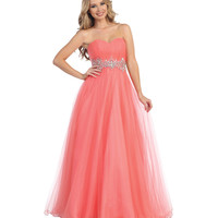 Coral Empire Waist Beaded Gown 2015 Prom Dresses