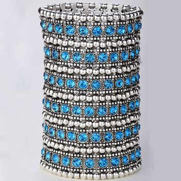 SHIPS FROM USA Multilayer stretch cuff bracelet women crystal wedding bridal fashion jewelry gifts for women her wife mom B14 6 row