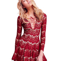 Long Sleeve Lace Up Dress