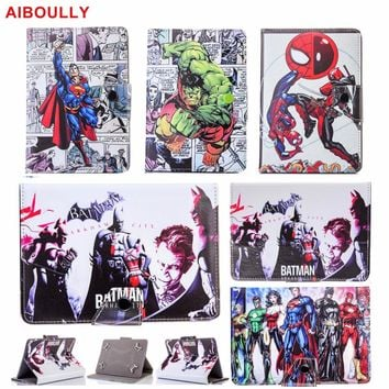 "AIBOULLY Avengers Batman Spiderman Hulk Super Heroes Universal 7"" Case for iPad mini 1 2 3 7.9"" 7.0 inch Tablet PC Stands Holder"