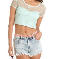 Daisy Mesh Crop Top: Charlotte Russe