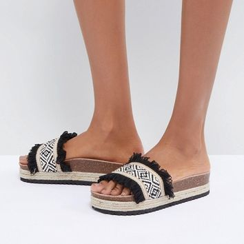 South Beach Flatform Ruffle Detail Sliders at asos.com