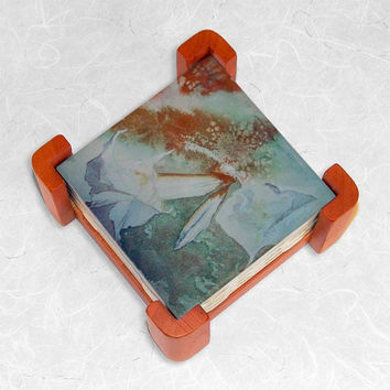 Ceramic Tiles in Cherry Wood Coaster Set featuring Angel's Trumpet Flowers Watercolor
