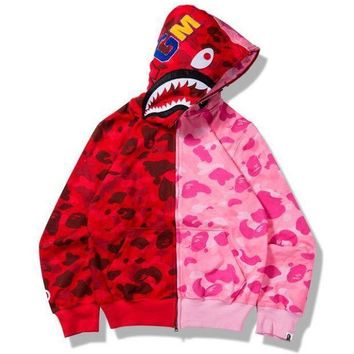 Chenire BAPE SHARK camouflage contrast hoodie Sweater