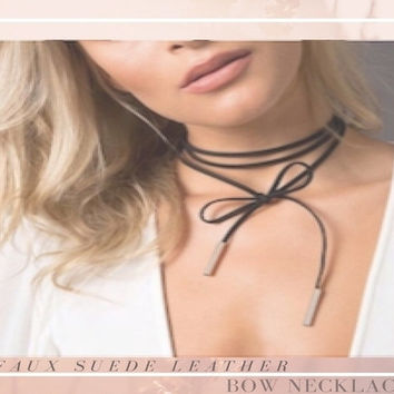 VALENTINE'S DAY GIFT Bolo Lariat Necklace Black Faux Suede Leather Choker Y Cord Necktie Gold End Tubes Maxi String Rope Bow Tie Boho Sexy