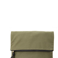 FOREVER 21 Oversized Canvas Clutch Olive One
