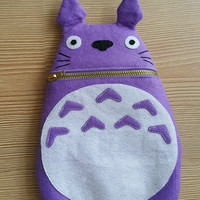 Purple Totoro Zip Purse, Makeup Bag, Coin Purse, Small Accessory Pouch, FREE SHİPPİNG Manga Troll ,Hayao Miyazaki , GİFT her him