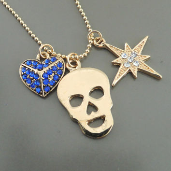 Skull Necklace - Gold Necklace - Sapphire Necklace - Heart Necklace - Charm Necklace - handmade jewelry