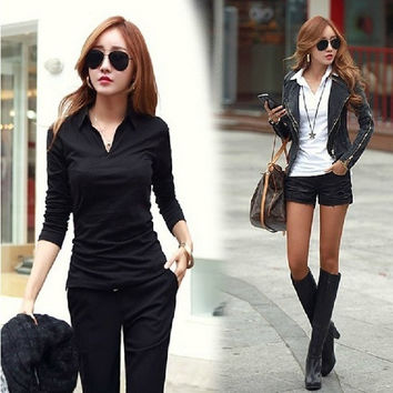 2015 Spring New Fashion Women Tshirt Korean Style Shirt Neck Slim Tops O-neck Long Sleeve Woman Tshirt Blouses Shirt Autumn = 1946619012