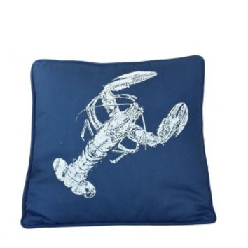 "Navy Blue and White Lobster Pillow 16"" - GoNautical"