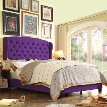Becker Upholstered Wingback Panel Bed in Purple