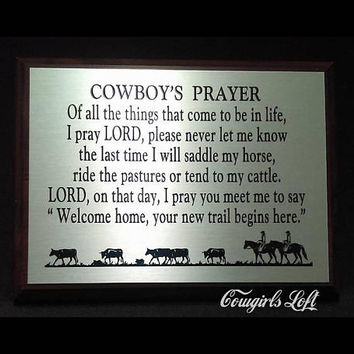 COWBOY'S Prayer Poem Saying Plaque Cattlemans gift, cowboy cowgirl gifts Western Wall decor horse cattle drive -Exclusively Cowgirls Loft