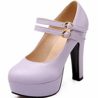 ENMAYER Size 34-47 Women's High Heel Mary Janes Pumps 2015 Rome Shimmery PU   Party Wedding Shoes Platform Pumps shoes women