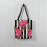 Bold pink roses and stripes
