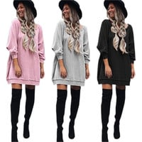 2016 Women Autumn Winter Dress New Style Fashion Dress Sweatshirts Hoodies Dresses Plus Size Sexy Casual Dress Vestidos GV383