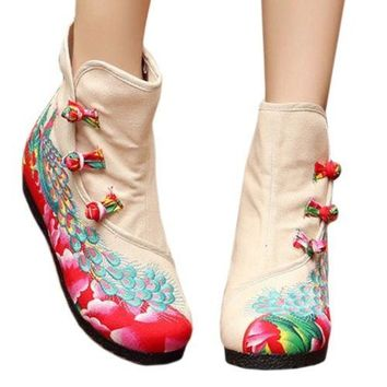 Vintage Beijing Cloth Shoes Embroidered Boots beige thin shoes 35