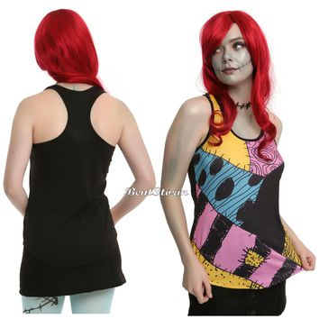 Licensed cool Disney The Nightmare Before Christmas Sally Ragdoll Patchwork Tank Top JRS XS-XL