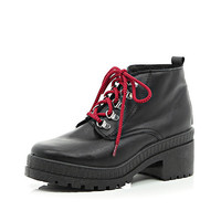 River Island Womens Black statement lace hiker boots