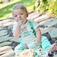 BOYS FIRST BIRTHDAY Outfit-Boys Birthday bodysuit with Gray Chevron 1 and Aqua suspenders-Cake Smash Birthday Set