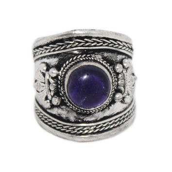 Amethyst Ring, Adjustable Ring, yoga ring