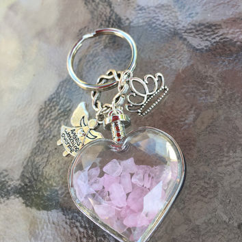 Rose Quartz Wishing Bottle, Princess Crown, Angels Watching Me KeyRing  Angel Energy, Healing Energy Infused. TEMPT, Gems and Magic, Crystal