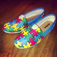 Autism Awareness Toms Three different styles by CWhittCustomKicks