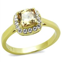 Halo Champagne CZ Gold Stainless Steel Engagement Ring