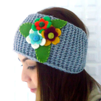 Knitted Headband Ear Warmer Stretch Mesh,Felt Flowers Neck  Warmer or Hair Band,  Grey.