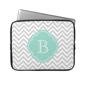 Gray Chevron Stripes Custom Monogram Laptop Computer Sleeve from Zazzle.com