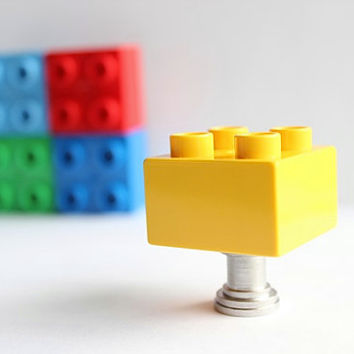Kids Drawer Knobs made with Toy Brick in Bright Yellow (TK03)