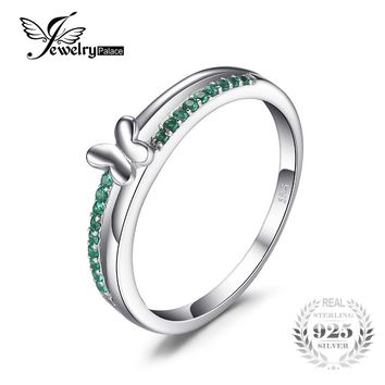 JewelryPalace Butterfly Created Emerald Ring For Women Genuine 925 Sterling Silver Jewelry Gift For Friends Wife