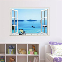 island sea beach resort 3d fake windows wall stickers living room decor diy home decals peel and stick scenery mural art posters