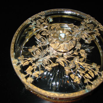 Serving Relish Dish Divided Glass Insert Tray Ormolu Footed Floral Finial