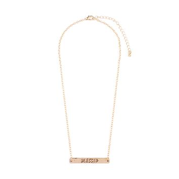 """""""Blessed"""" Engraved Bar Necklace"""
