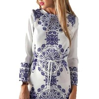 Women Long sleeve China Floral Print Casual Dress