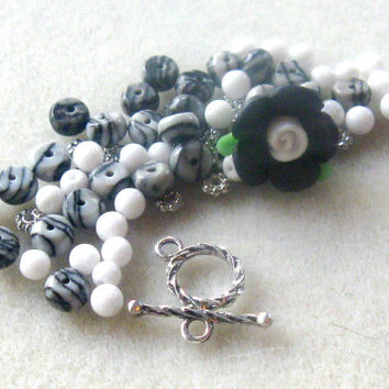 Polymer Clay Flower Bead Jasper Jade Black Silver Pewter Bracelet Beads Kit DIY Jewelry Kit