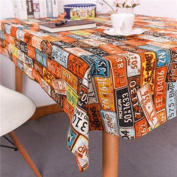 Custom Vintage American Mediterranean Plate Street Culture Bar and Cafe Tea Table Cloth Cover Western-style Food Table Cloth