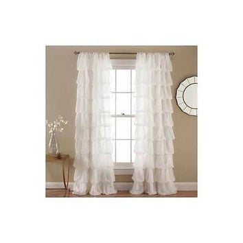 "Lush Decor Olivia Off White Window Curtain 50"" X 84"""