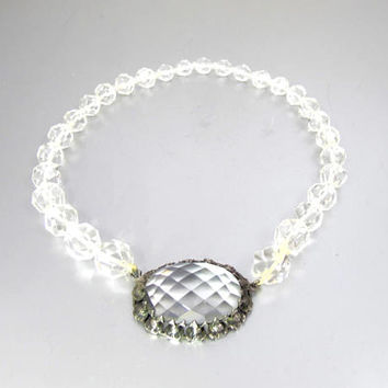 Vintage Deco Rock Crystal Necklace. Art Deco Faceted Rock Crystal Beads Floral Rock Crystal Clasp. 1930s Rock Crystal Jewelry.