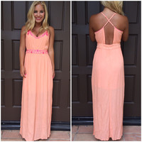 Deserted Island Maxi Dress - Coral