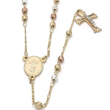 Gold Plated 09.59.0033.28 Medium Rosary, Divino Niño and Crucifix Design, Diamond Cutting Finish, Tri Tone