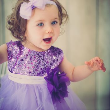 (Sale) Baby Girls 6-12 Months Lavender Sequin Party Dress w. Lettuce Hem