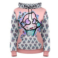 Womens Cute Ice Cream Pastel Galaxy Kawaii  Hoodie Tattoo Art All over print fashion gothic pastel goth emo punk hipster