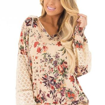 Taupe Floral Print Hoodie with Sheer Lace Details