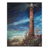 Little Sable Light, Michigan lighthouse painting Print from Zazzle.com
