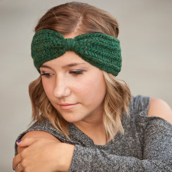 Crochet Earwarmer- Forest Green