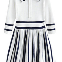 White Pin Stripes Preppy-style Dress