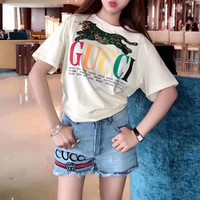 """""""Gucci"""" Women Casual Fashion Sequin Panther Multicolor Letter Print Short Sleeve T-shirt Top Tee"""